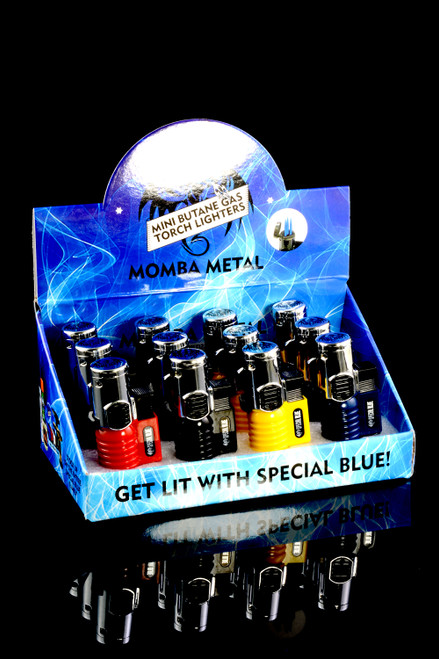 12 Pc Special Blue Momba Metal Torch Lighter Display - L0203