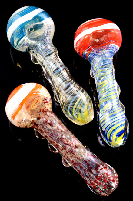 Thick Color Changing Swirl Glass Pipe  - P1933