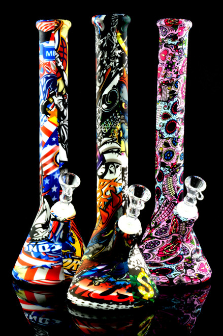 Large Printed Decal Silicone Water Pipe - WP1833