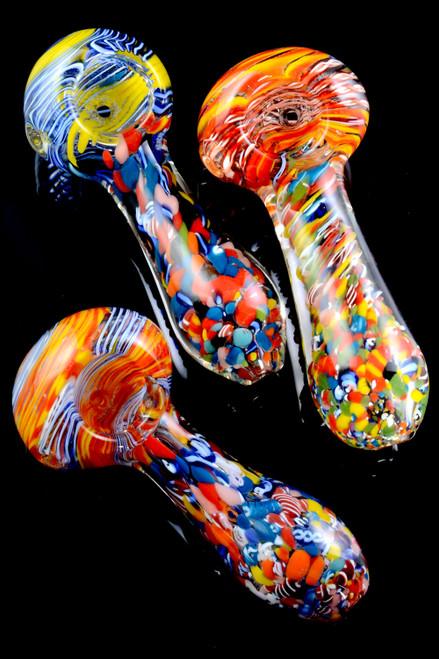 Thick Multicolor Swirl Stripe Confetti Glass Pipe - P1961