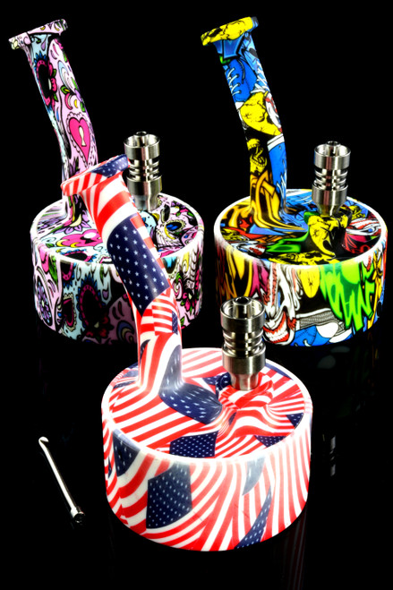 Colorful 2 Part Silicone Decal Dab Rig - WP1880