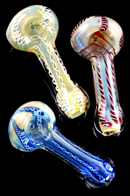 Small Color Changing Striped Glass Pipe - P1985