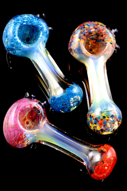 Color Changing Multicolor Frit Glass Pipe - P1987