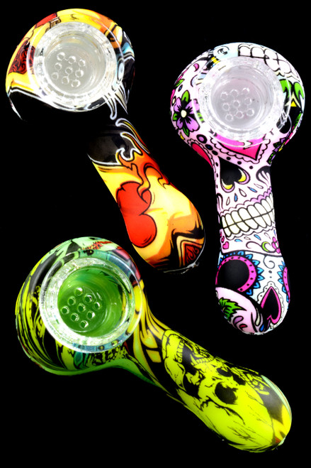 Mini Silicone Decal Hand Pipe with Glass Bowl - P2051