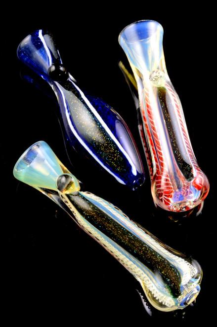 Bulk cheap glass dichroic chillums for smoke shop resale.