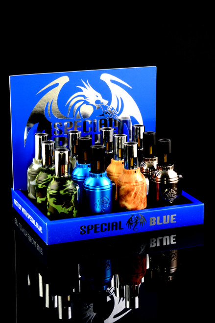 12 Pc Special Blue Grenade Lighter Display - L0210