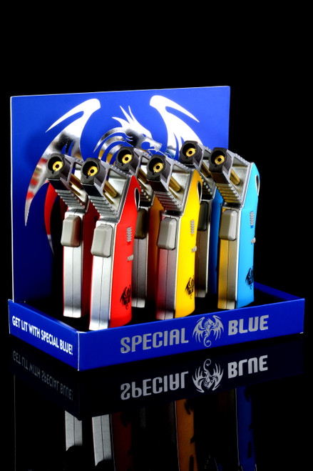 6 Pc Special Blue Avenger Torch Lighter Display - L0211