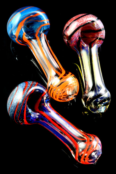 Small Colorful Frit Striped Clear Glass Pipe - P2061