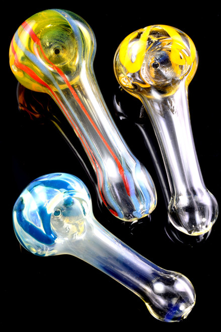 Small Color Changing Striped Glass Pipe - P2068