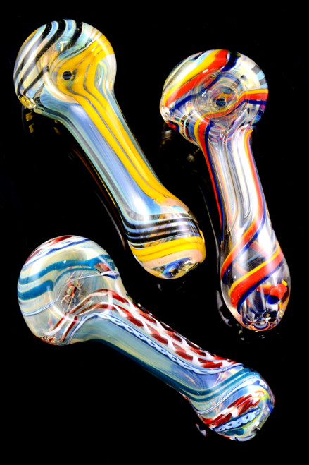 Color Changing Spiral Striped Glass Pipe - P2069