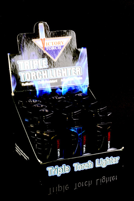 12 Pc Victory Torch Triple Torch Lighter Display - L0215