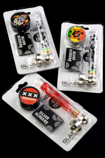 (Mix) Glass Pipe with Metal Bowl Gift Set - MP194
