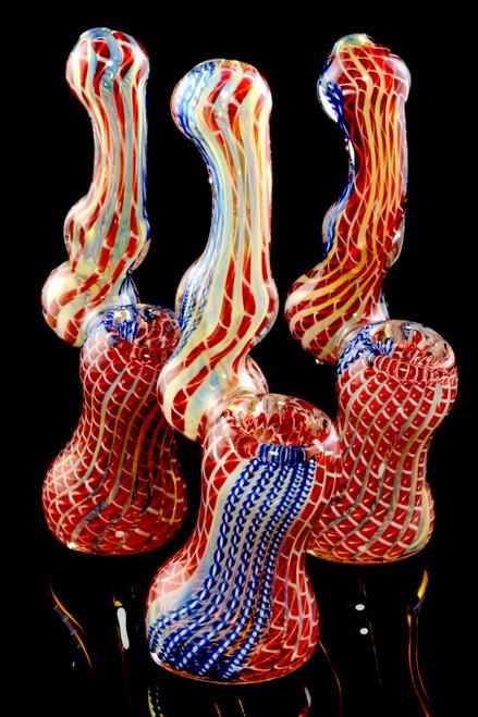 Small Color Changing Multicolor Striped Sherlock Glass Bubbler - B1153