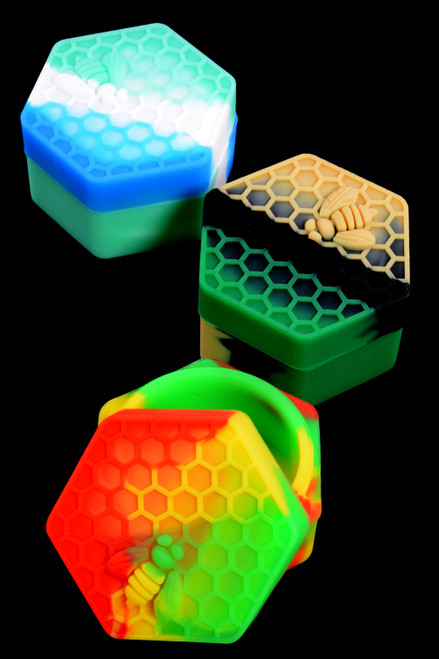Colorful Silicone Hexagon Honeybee Jar - J0214