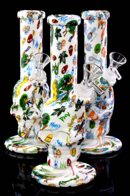 Small 2 Part R&M Decal Print Silicone Skull Water Pipe - WP2053