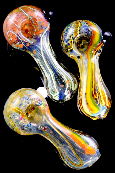 Small Color Changing Frit Striped Glass Pipe - P2163