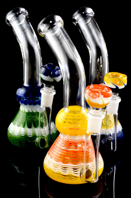 Small Stemless GoG Colorful Striped Bent Neck Beaker Water Pipe - WP2132