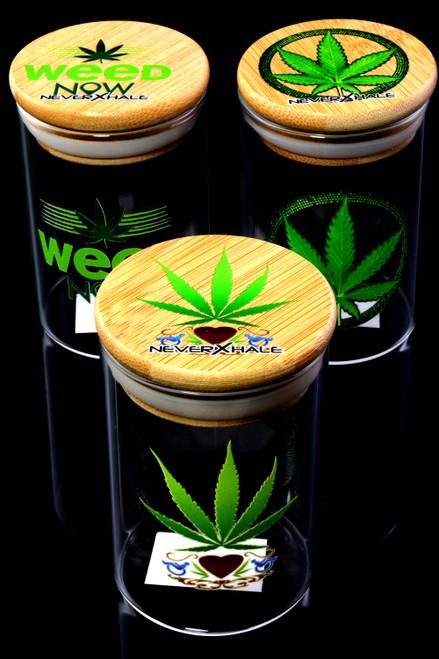 Medium Glass Decal Jar with Bamboo Lid - J0220