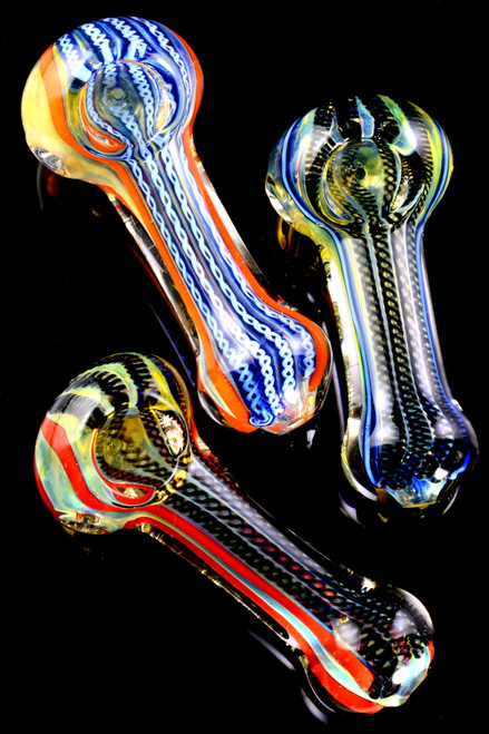 Thick Color Changing Multicolor Striped Glass Pipe - P2188