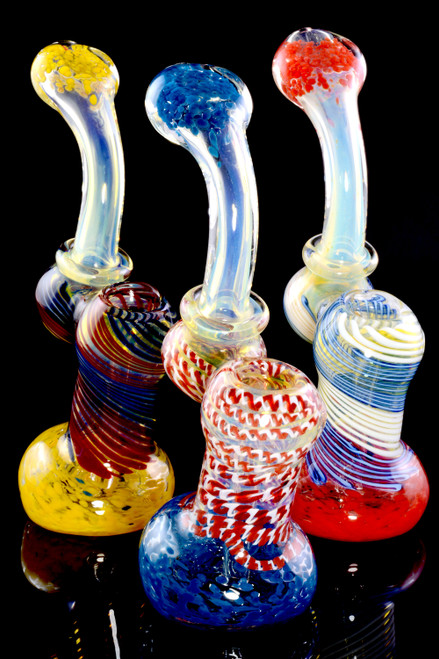 Medium Color Changing Spiral Striped Ring Sherlock Glass Bubbler - B1189