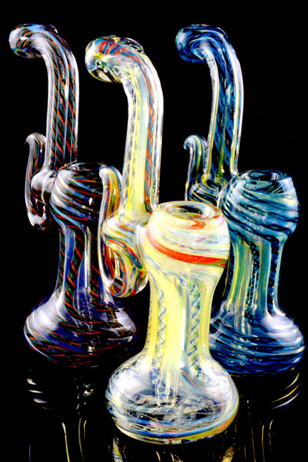 Small Multicolor Striped Color Changing Sherlock Glass Bubbler - B1192
