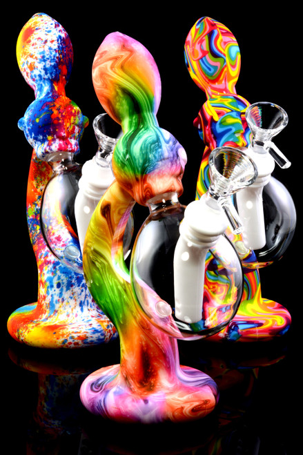 Small Rainbow Psychedelic Recycler Silicone Water Pipe with Glass Chamber - WP2178