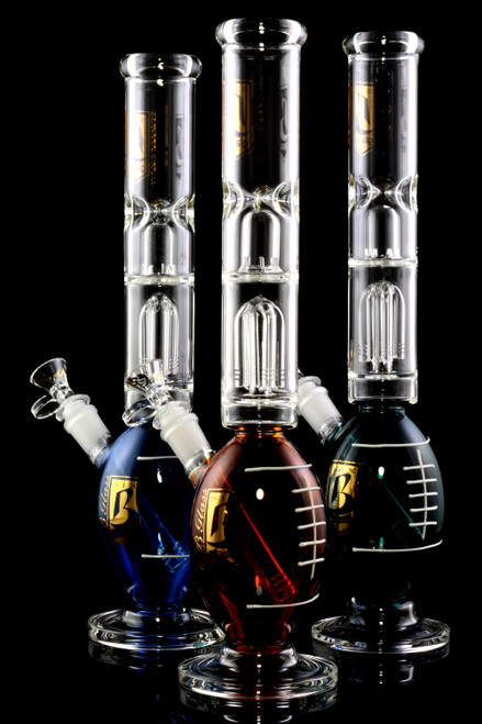Large Glass on Glass Football Water Pipe with Double Percs - WP2218