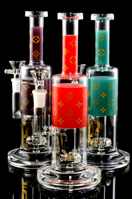 Small Stemless GoG Floral Pattern Water Pipe with Showerhead Perc - WP2219