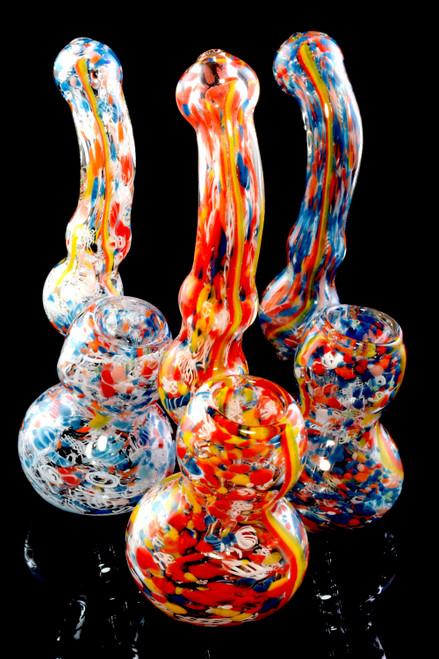 Small Confetti Frit Rasta Stripe Glass Sherlock Bubbler - B1198