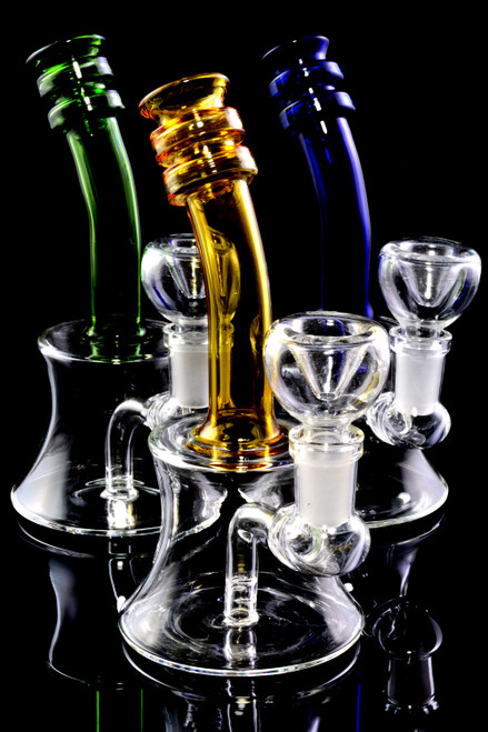Small Stemless Bent Neck Glass on Glass Water Pipe - WP2224