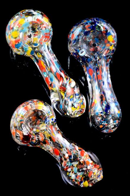 Small Clear Colorful Confetti Frit Glass Pipe - P2213