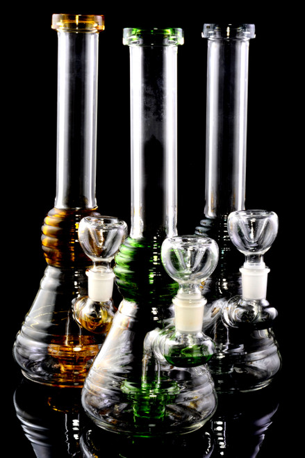 Medium Stemless GoG Reeded Beaker Water Pipe with Showerhead Perc- WP2226
