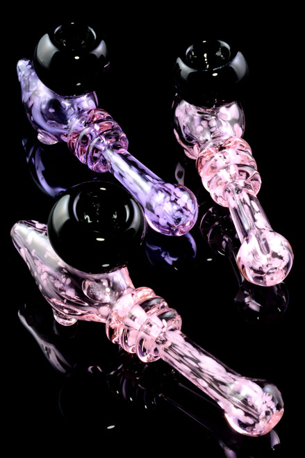 Unique Colored Frit Glass Steam Roller Pipe - P2220