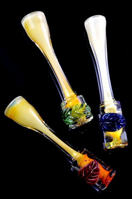 Gold Fumed Color Changing Glass Leaf Chillum - C0270