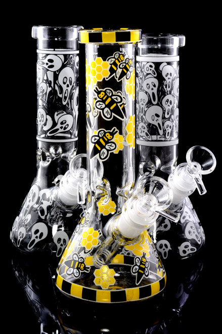 Small GoG Glow in the Dark Beaker Water Pipe with Ice Pinch - WP2231