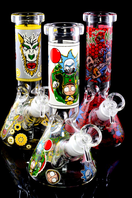 Colorful glass beaker water pipes for head shop resale.