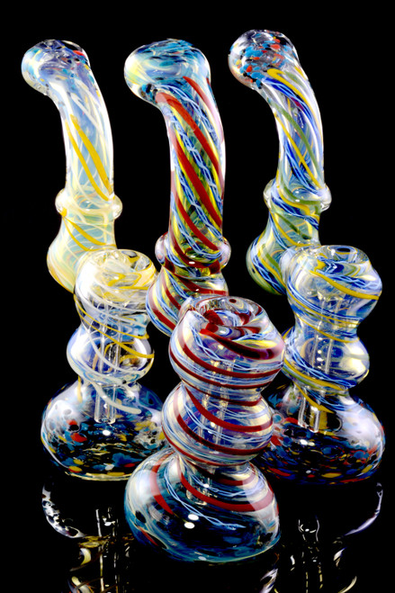 Medium Color Changing Spiral Striped Frit Glass Sherlock Bubbler - B1203