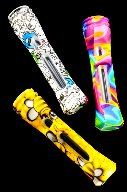 Colorful Decal Print Silicone Glass Chillum - C0273