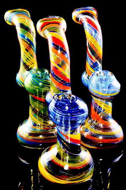 Medium Multicolor Spiral Striped Color Changing Glass Sherlock Bubbler - B1210