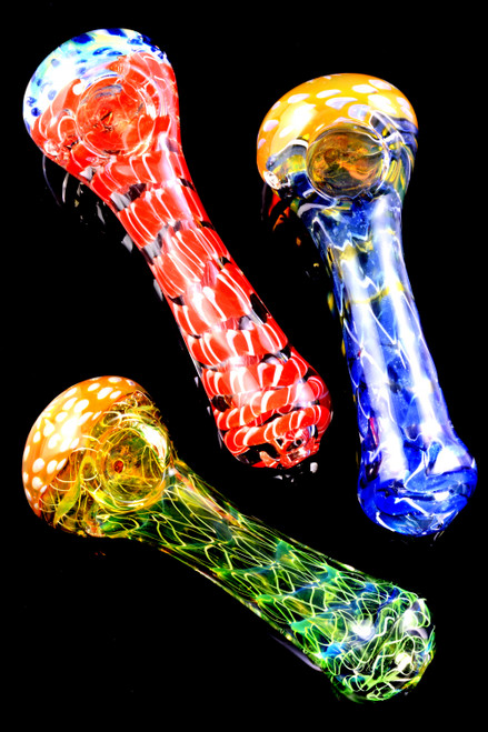 Color Changing Gold Fumed Multicolor Spiral Striped Glass Pipe - P2253