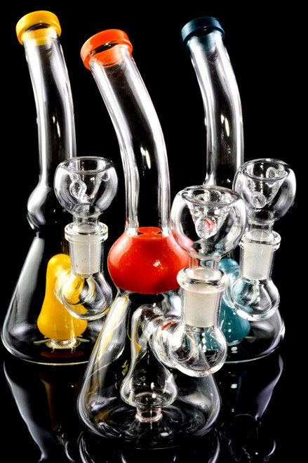 Small Stemless GoG Bent Neck Beaker Water Pipe with Showerhead Perc - WP2246