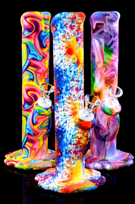 Medium Psychedelic Straight Shooter Silicone Water Pipe - WP2252