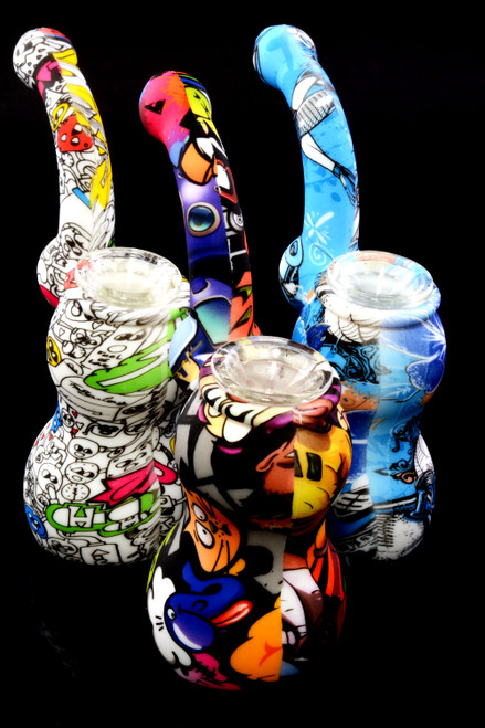 Small 2 Part Decal Print Silicone Sherlock Bubbler - B1213