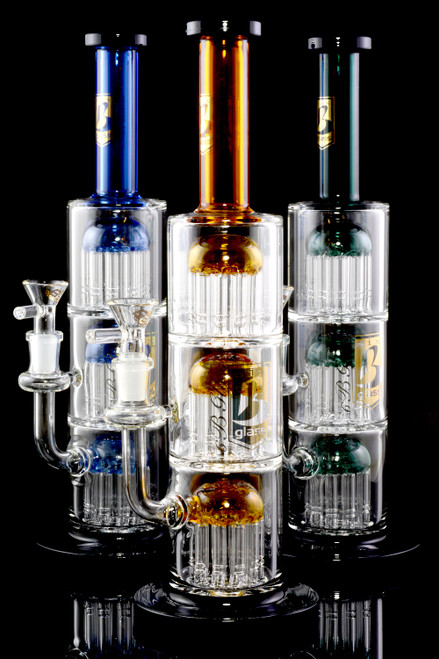 Medium Stemless GoG Straight Shooter Triple Tree Perc Water Pipe - WP2265
