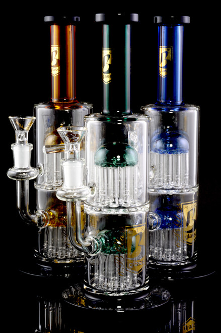 Medium GoG Stemless Straight Shooter Water Pipe with Double Tree Percs - WP2266