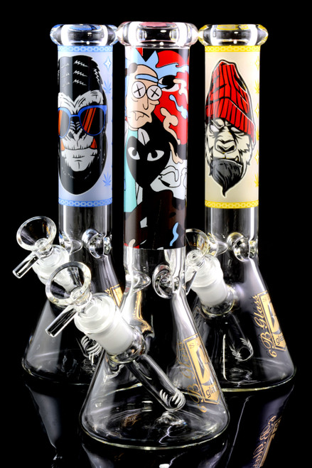 Wholesale beaker water pipes with glow in the dark decal.