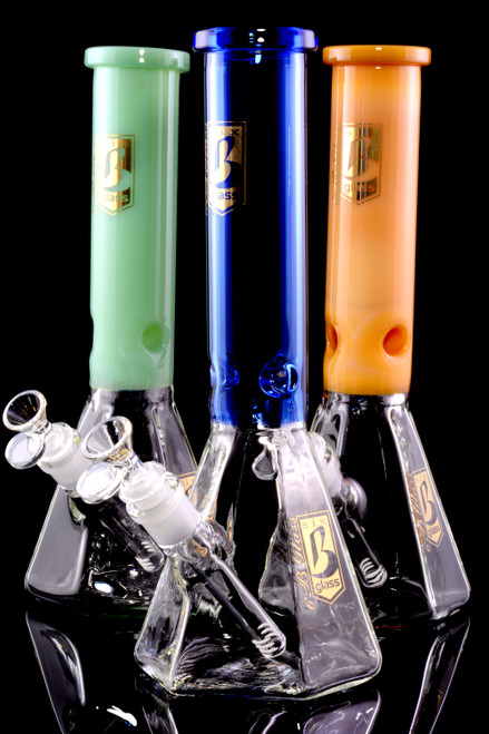 Large Thick Glass on Glass Hexagon Beaker Water Pipe with Ice Pinch - WP2272