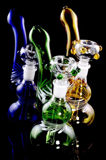 Small Colored Stemless Striped GoG Sherlock Bubbler - B1216