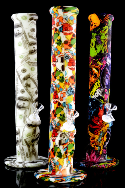 Large Glow in the Dark Decal Print Straight Shooter Silicone Water Pipe - WP2277