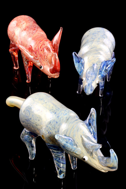 Silver Fumed Color Changing Glass Rhino Pipe - AP274
